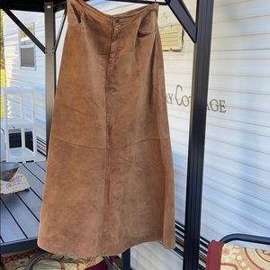 Washable Long Tan Suede Boho Country Skirt